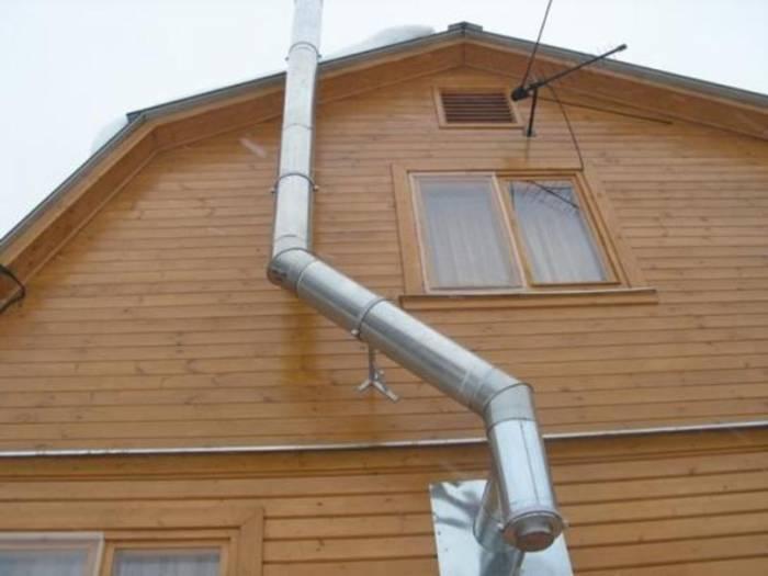 Дом русской рубки с металлической трубой